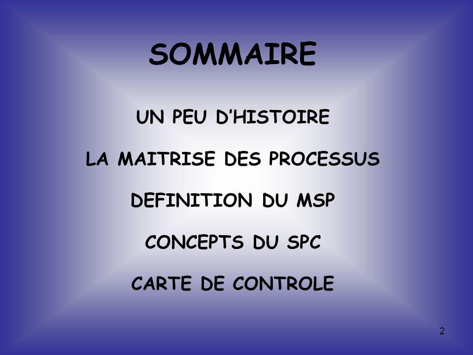 2 SOMMAIRE UN PEU DHISTOIRE LA MAITRISE DES PROCESSUS DEFINITION DU MSP CONCEPTS DU SPC CARTE DE CONTROLE