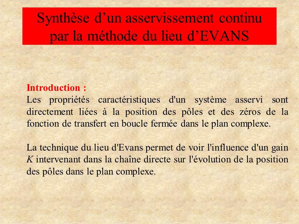 Synthèse dun asservissement continu par la méthode du lieu dEVANS Introduction : Les propriétés caractéristiques d'un système asservi sont directement