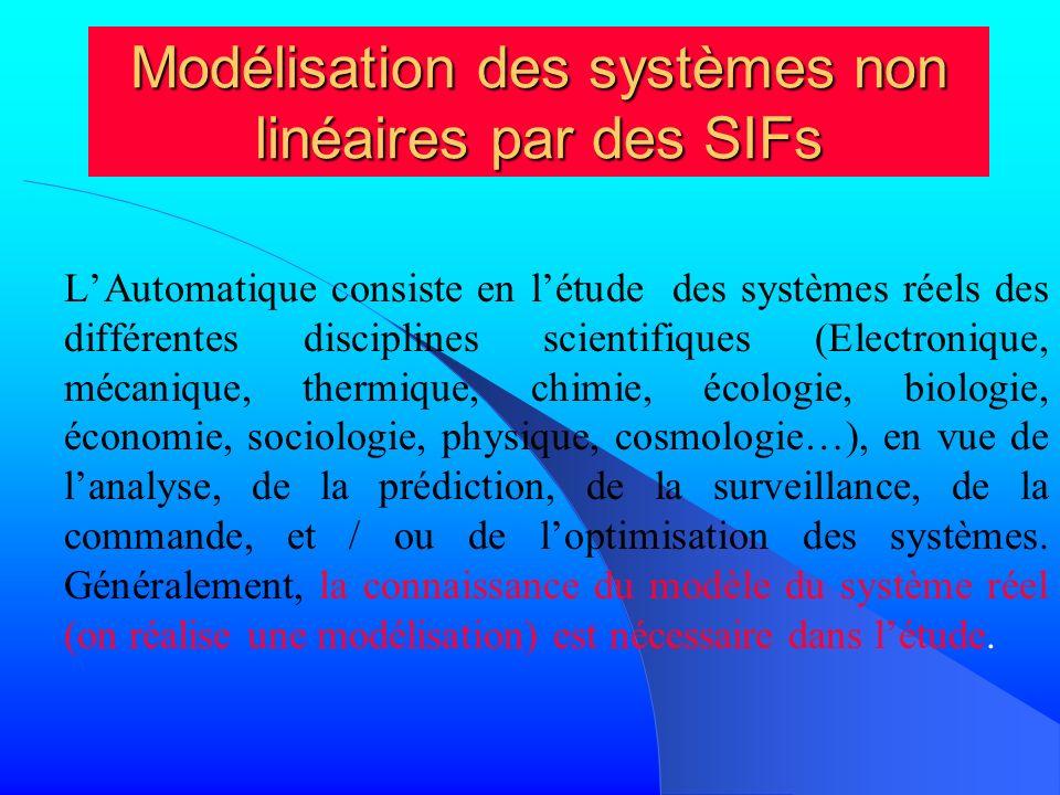 Modélisation des systèmes non linéaires par des SIFs LAutomatique consiste en létude des systèmes réels des différentes disciplines scientifiques (Ele