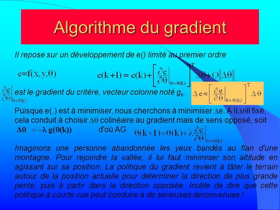 Algorithme du gradient Il repose sur un développement de e() limité au premier ordre est le gradient du critère, vecteur colonne noté g k. Puisque e(.