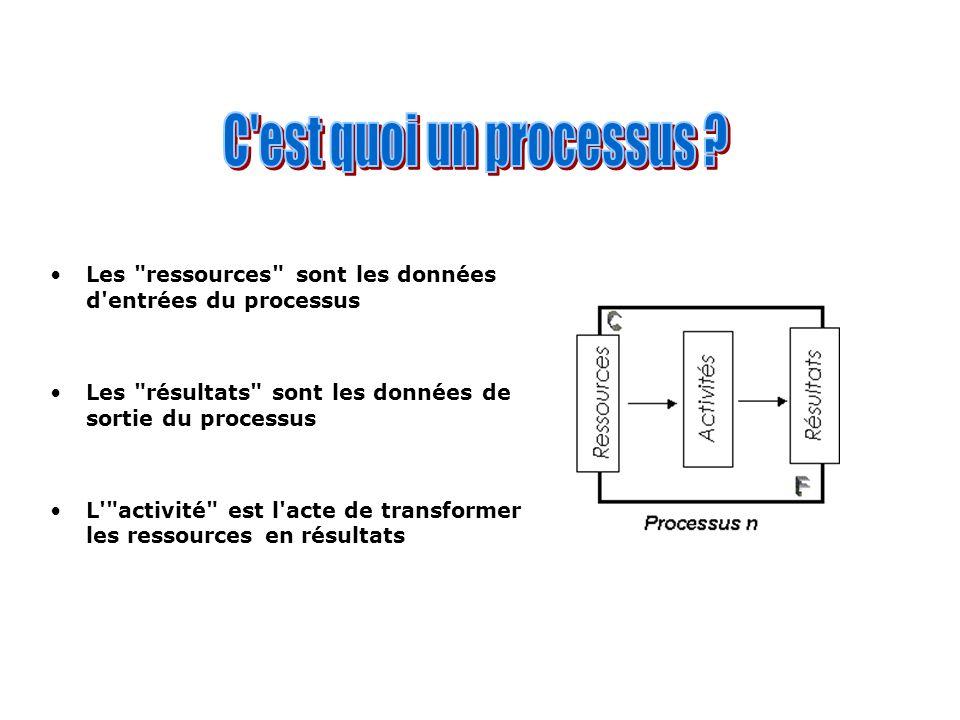 Les ressources sont les données d entrées du processus Les résultats sont les données de sortie du processus L activité est l acte de transformer les ressources en résultats