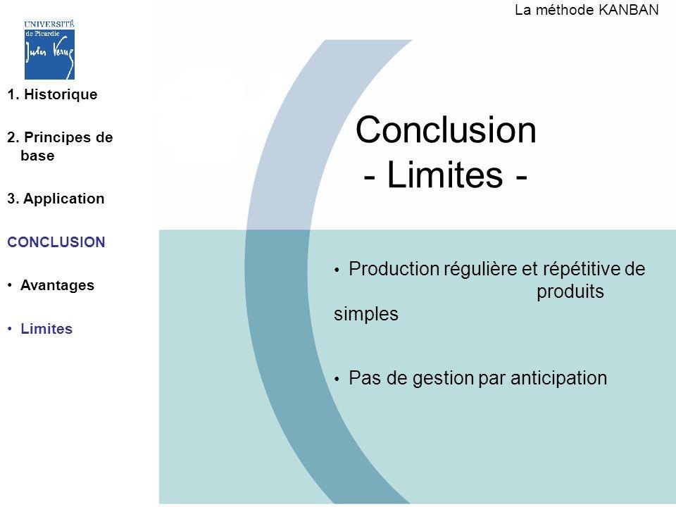 Conclusion - Limites - Production régulière et répétitive de produits simples Pas de gestion par anticipation La méthode KANBAN 1. Historique 2. Princ