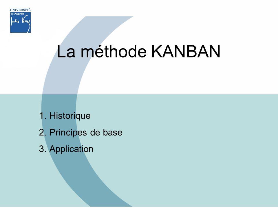 Historique Naissance au Japon dans les années 50 Mise en place chez Toyota ( Taiichi Ohno ) Japon : - 373000 km² (2/3 France) - montagneux, 60% forêts problèmes de stockage (diminution des stocks) La méthode KANBAN 1.