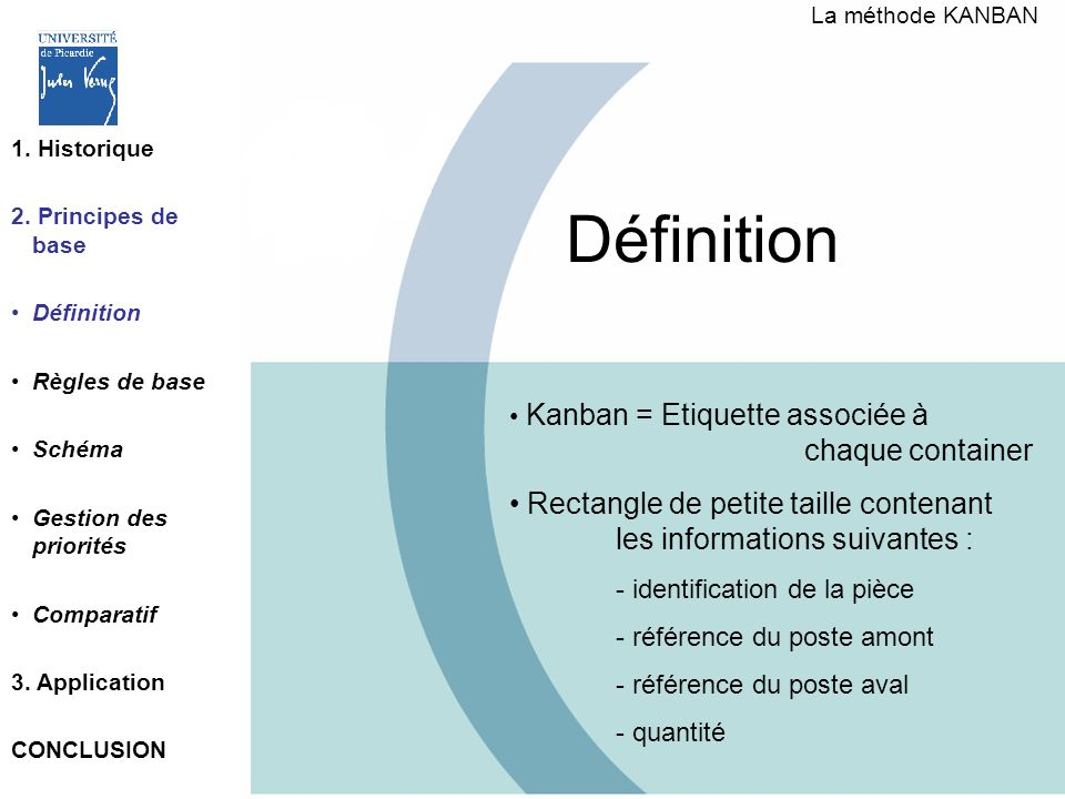 Définition 1. Historique 2. Principes de base Définition Règles de base Schéma Gestion des priorités Comparatif 3. Application CONCLUSION Kanban = Eti