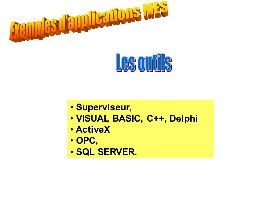 - - - Superviseur, VISUAL BASIC, C++, Delphi ActiveX OPC, SQL SERVER.