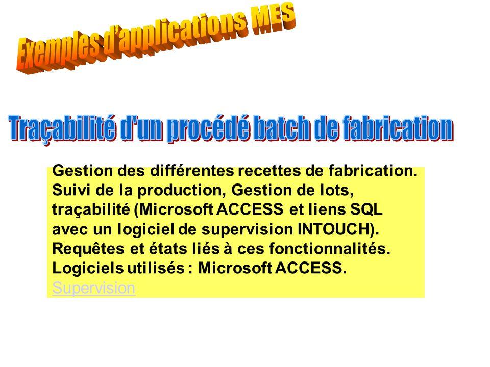 Gestion des différentes recettes de fabrication. Suivi de la production, Gestion de lots, traçabilité (Microsoft ACCESS et liens SQL avec un logiciel