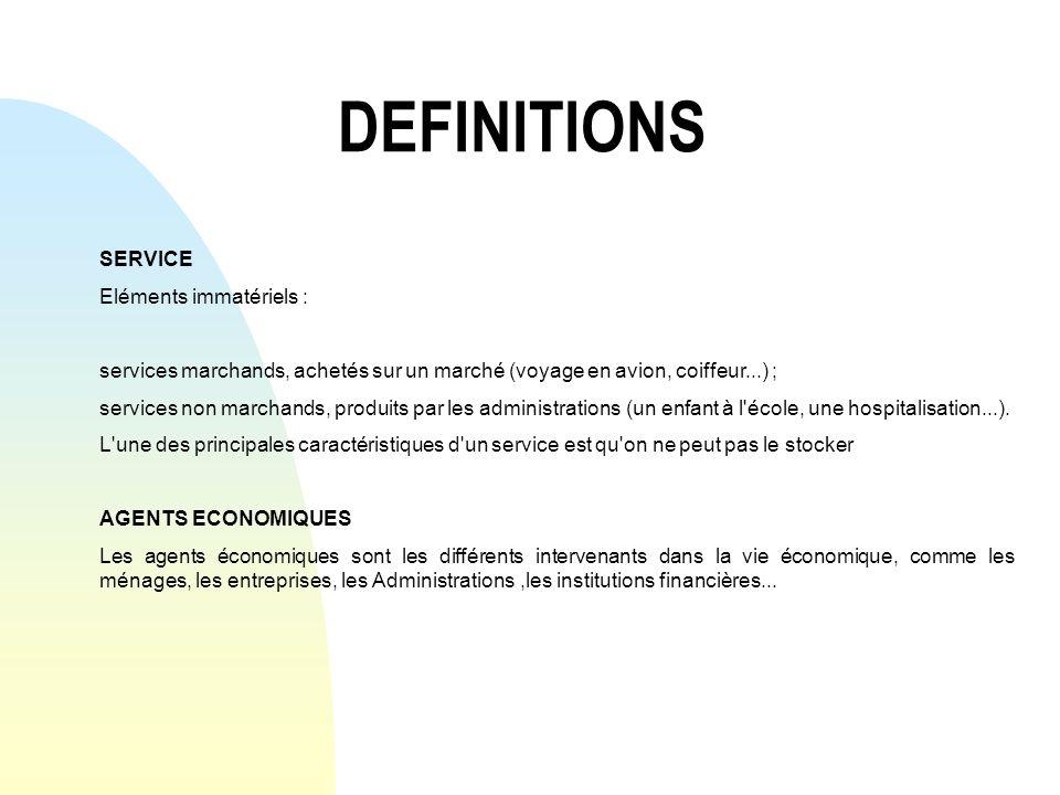DEFINITIONS SERVICE Eléments immatériels : services marchands, achetés sur un marché (voyage en avion, coiffeur...) ; services non marchands, produits