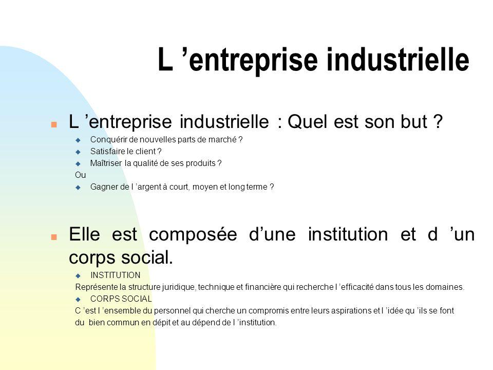 L entreprise industrielle n L entreprise industrielle : Quel est son but ? u Conquérir de nouvelles parts de marché ? u Satisfaire le client ? u Maîtr