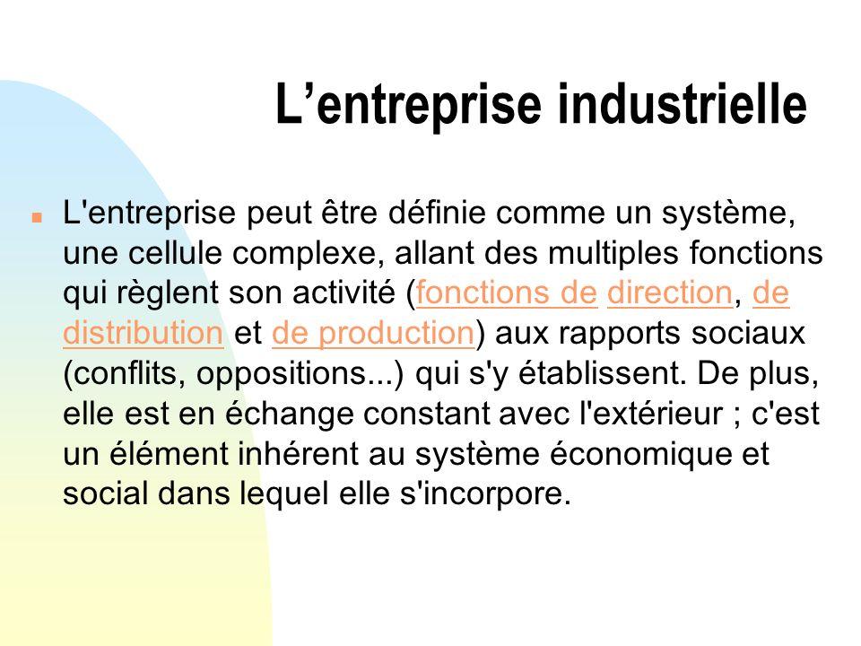 Lentreprise industrielle n L'entreprise peut être définie comme un système, une cellule complexe, allant des multiples fonctions qui règlent son activ