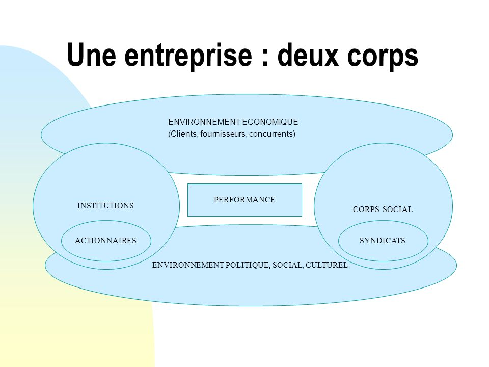ENVIRONNEMENT POLITIQUE, SOCIAL, CULTUREL Une entreprise : deux corps ENVIRONNEMENT ECONOMIQUE (Clients, fournisseurs, concurrents) INSTITUTIONS CORPS