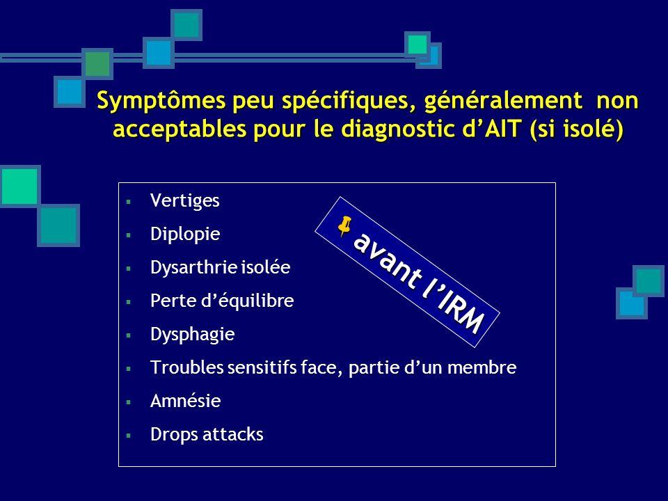 Symptômes peu spécifiques, généralement non acceptables pour le diagnostic dAIT (si isolé) Vertiges Diplopie Dysarthrie isolée Perte déquilibre Dyspha