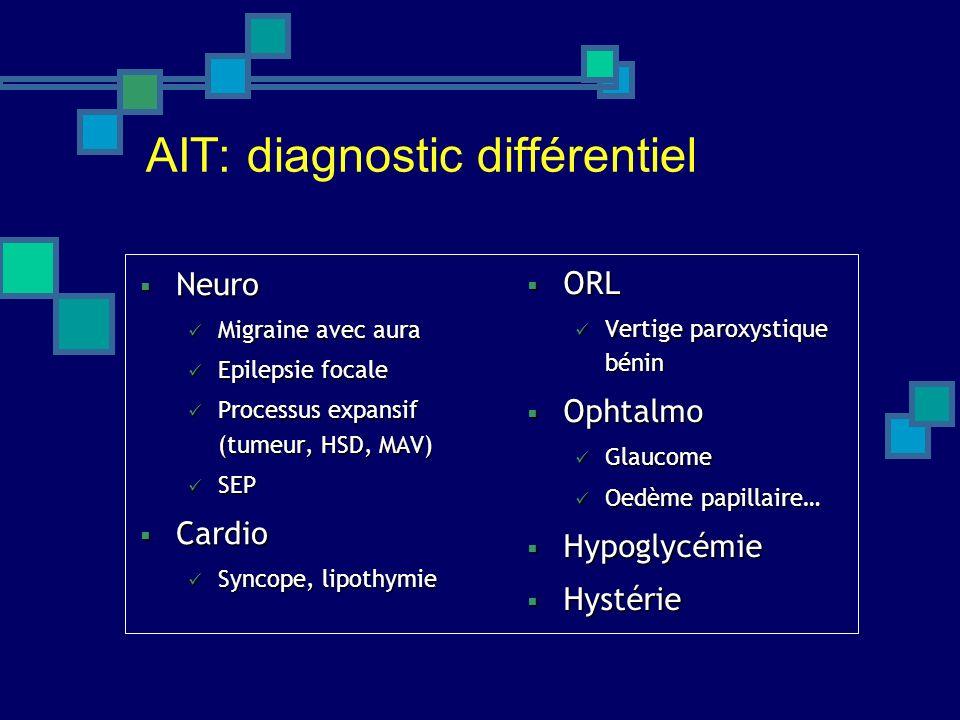AIT: diagnostic différentiel Neuro Neuro Migraine avec aura Migraine avec aura Epilepsie focale Epilepsie focale Processus expansif (tumeur, HSD, MAV)