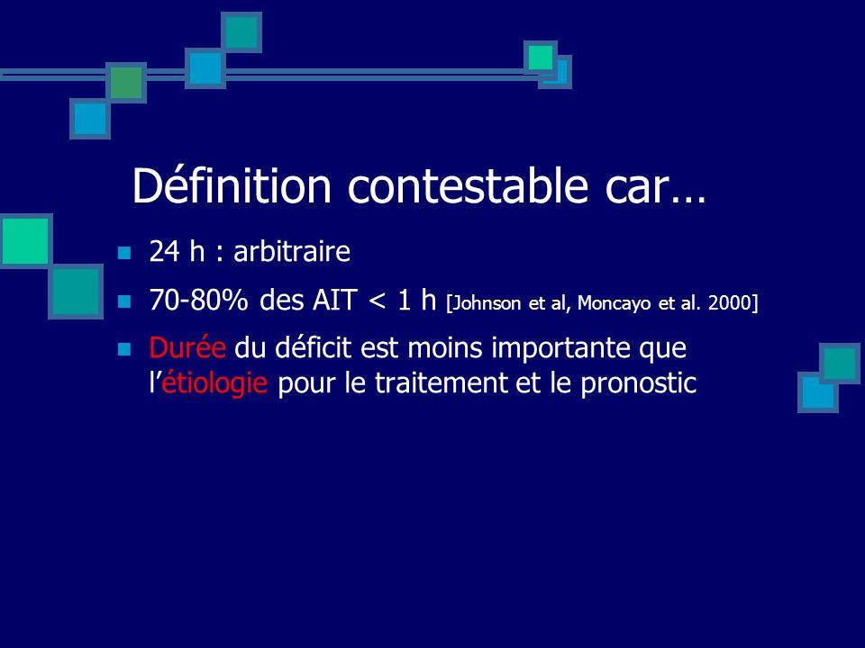 Définition contestable car… 24 h : arbitraire 70-80% des AIT < 1 h [Johnson et al, Moncayo et al. 2000] Durée du déficit est moins importante que léti