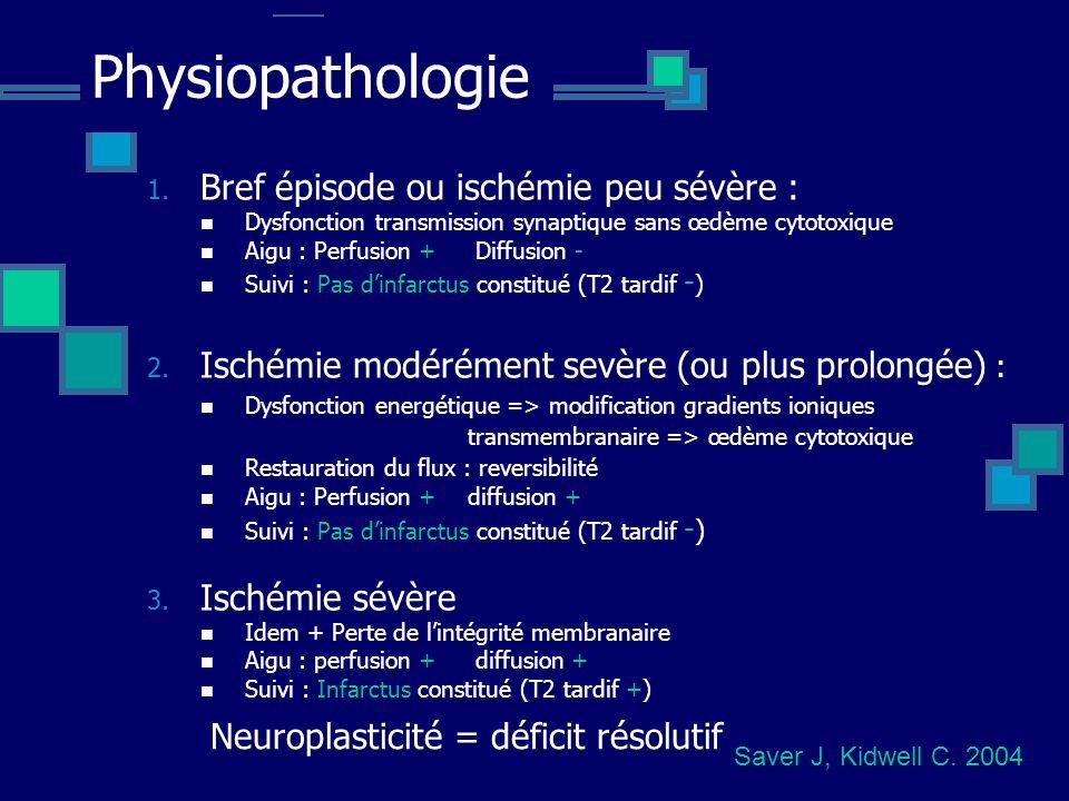 Physiopathologie 1. Bref épisode ou ischémie peu sévère : Dysfonction transmission synaptique sans œdème cytotoxique Aigu : Perfusion + Diffusion - Su