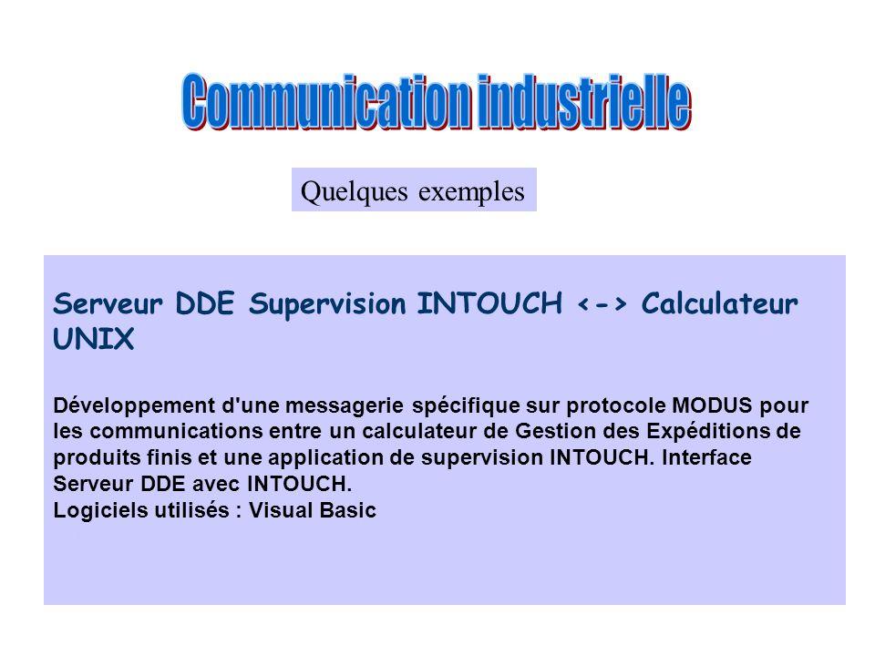 Serveur DDE Supervision INTOUCH Calculateur UNIX Développement d'une messagerie spécifique sur protocole MODUS pour les communications entre un calcul