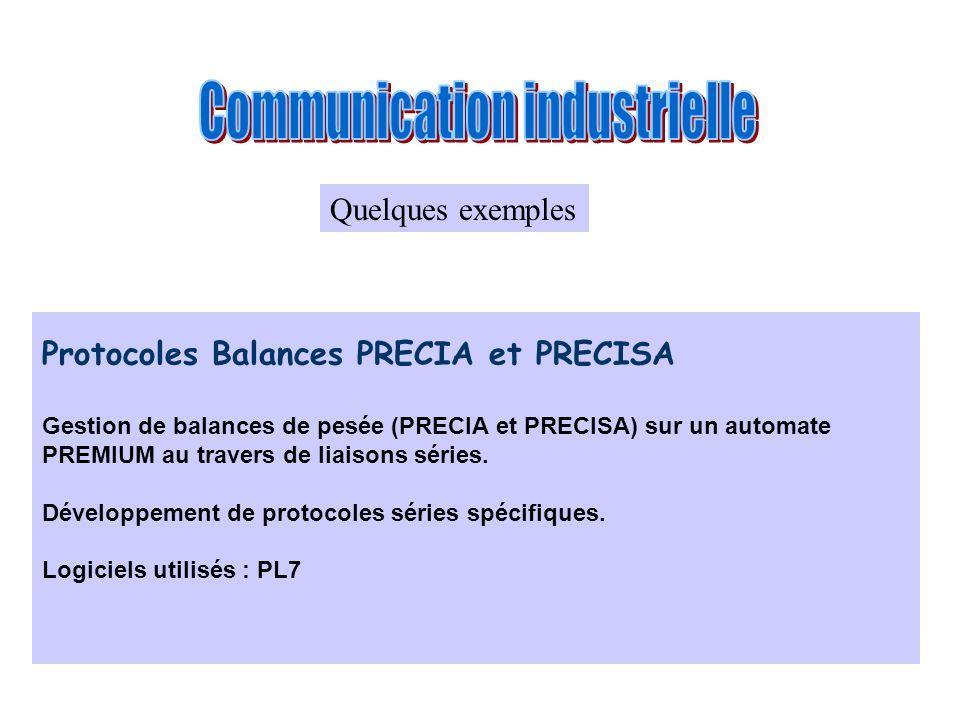 Protocoles Balances PRECIA et PRECISA Gestion de balances de pesée (PRECIA et PRECISA) sur un automate PREMIUM au travers de liaisons séries. Développ