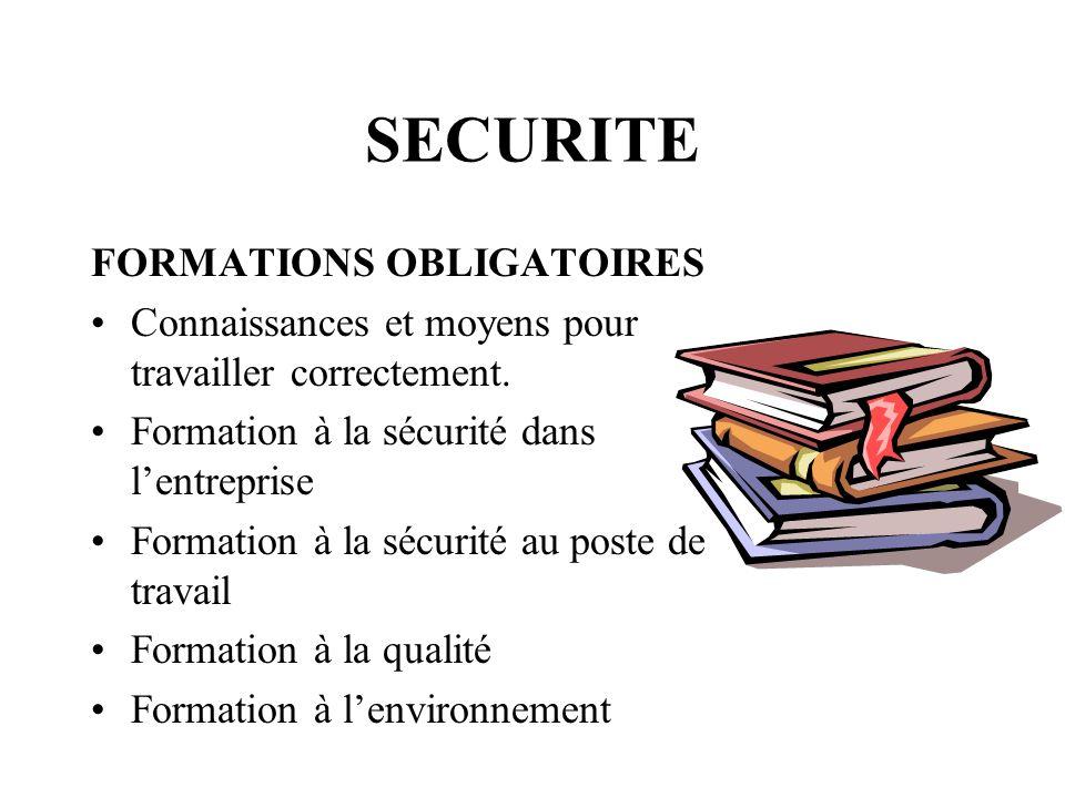SECURITE FORMATIONS OBLIGATOIRES Connaissances et moyens pour travailler correctement. Formation à la sécurité dans lentreprise Formation à la sécurit