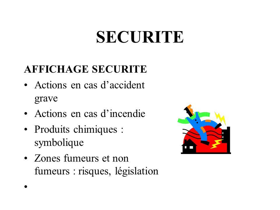 SECURITE AFFICHAGE SECURITE Actions en cas daccident grave Actions en cas dincendie Produits chimiques : symbolique Zones fumeurs et non fumeurs : ris