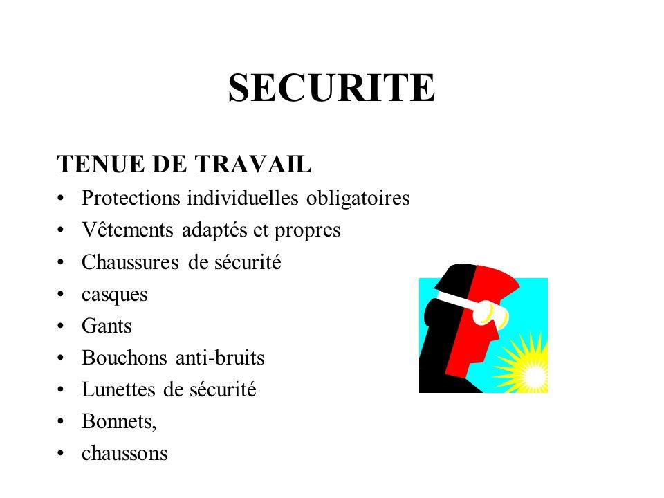 SECURITE TENUE DE TRAVAIL Protections individuelles obligatoires Vêtements adaptés et propres Chaussures de sécurité casques Gants Bouchons anti-bruit