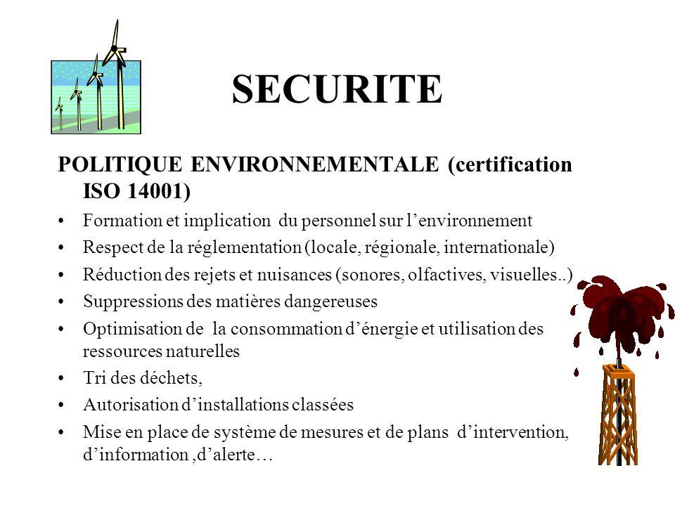 SECURITE POLITIQUE ENVIRONNEMENTALE (certification ISO 14001) Formation et implication du personnel sur lenvironnement Respect de la réglementation (l