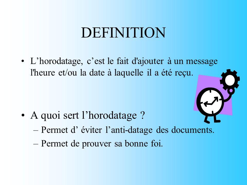 PRESENTATION GENERALE But de lHorodatage.–Tracer les documents.