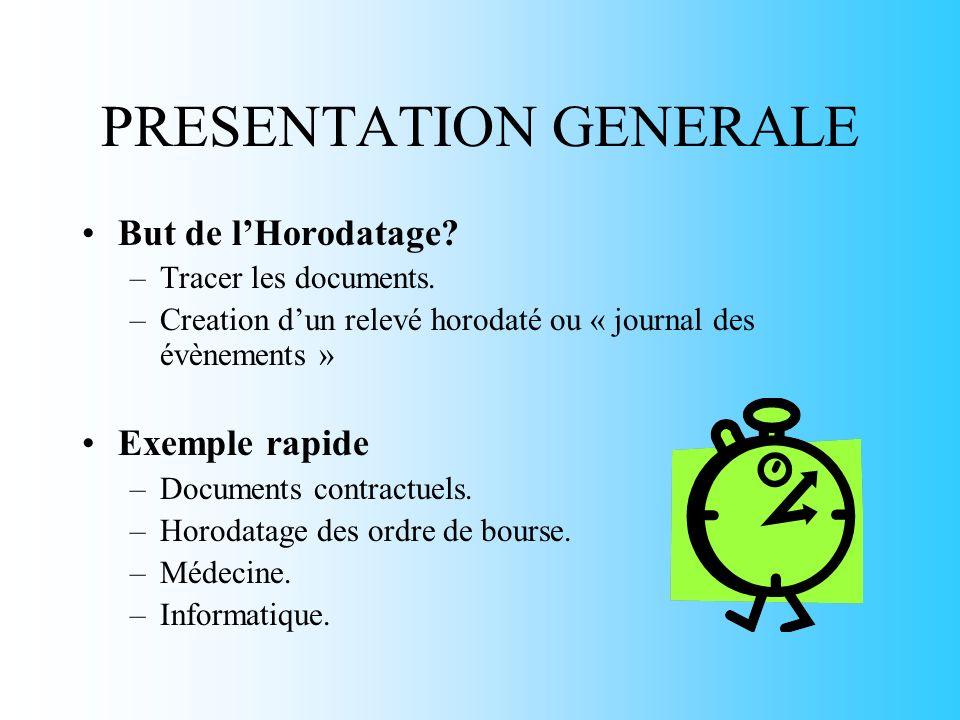 PRESENTATION GENERALE But de lHorodatage. –Tracer les documents.