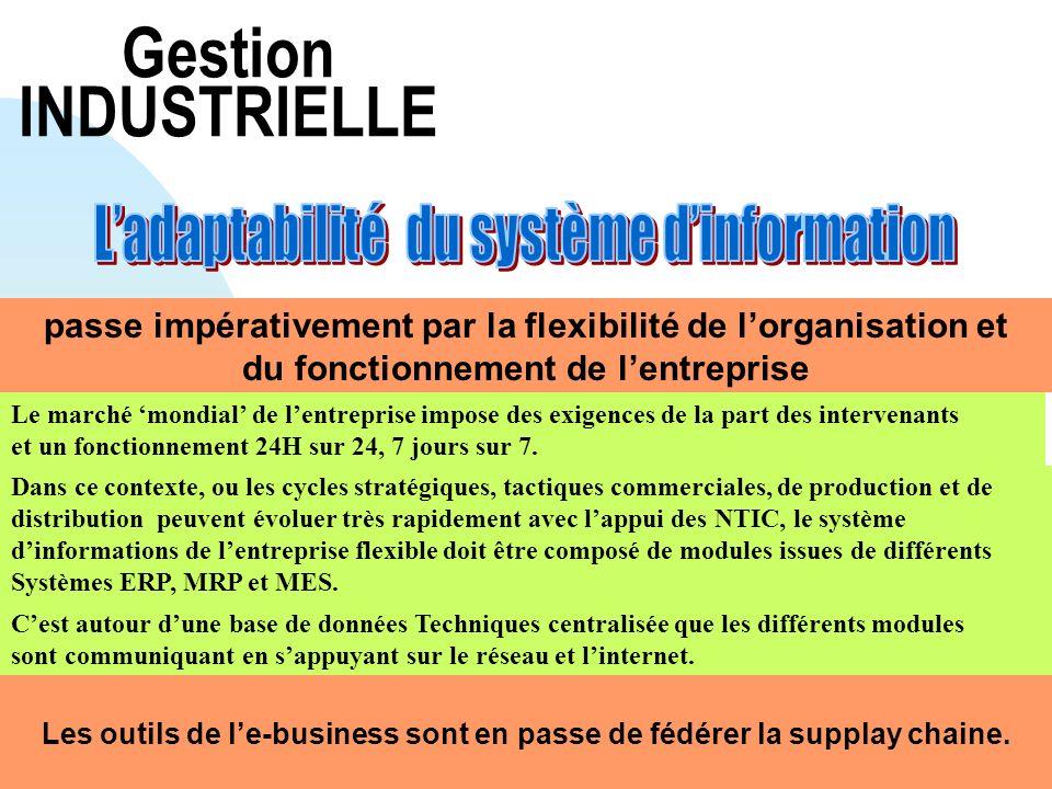 Gestion INDUSTRIELLE passe impérativement par la flexibilité de lorganisation et du fonctionnement de lentreprise Le marché mondial de lentreprise imp