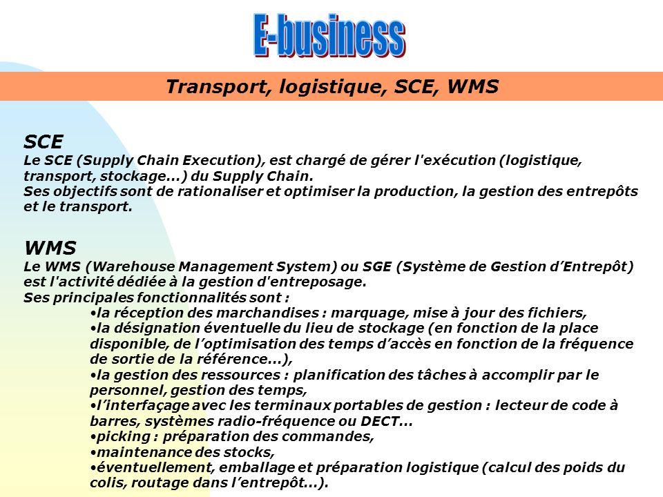 SCE Le SCE (Supply Chain Execution), est chargé de gérer l'exécution (logistique, transport, stockage...) du Supply Chain. Ses objectifs sont de ratio