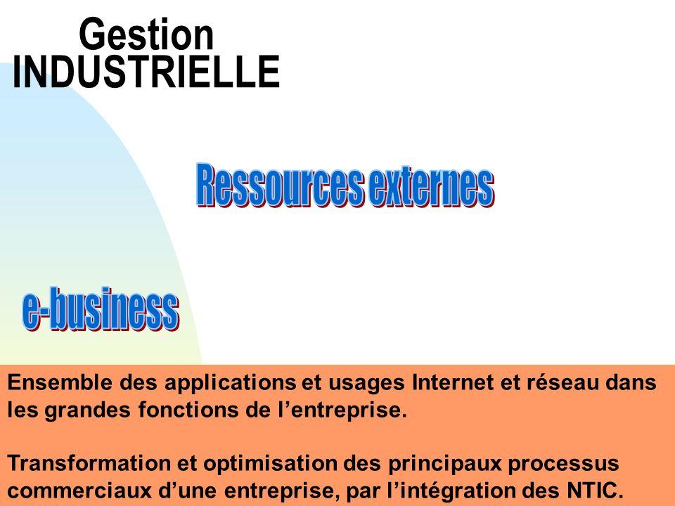 Gestion INDUSTRIELLE Ensemble des applications et usages Internet et réseau dans les grandes fonctions de lentreprise. Transformation et optimisation