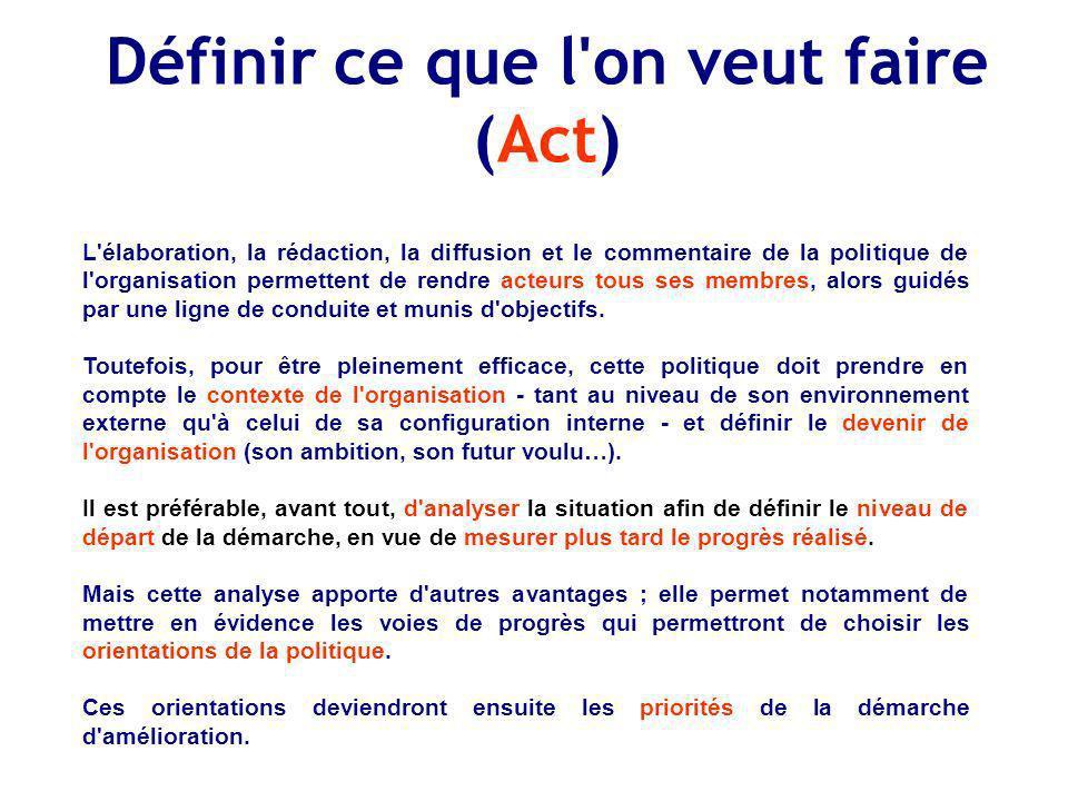 Définir ce que l'on veut faire (Act) L'élaboration, la rédaction, la diffusion et le commentaire de la politique de l'organisation permettent de rendr