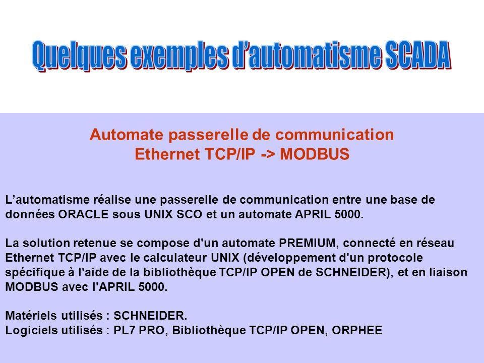 Automate passerelle de communication Ethernet TCP/IP -> MODBUS Lautomatisme réalise une passerelle de communication entre une base de données ORACLE s