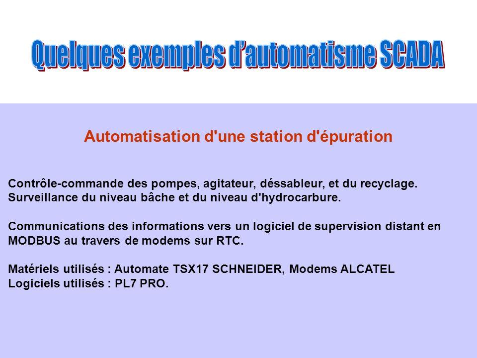 Automatisation d'une station d'épuration Contrôle-commande des pompes, agitateur, déssableur, et du recyclage. Surveillance du niveau bâche et du nive