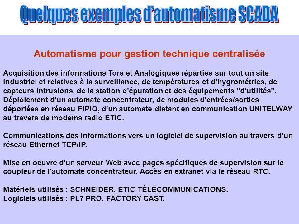 Automatisme pour gestion technique centralisée Acquisition des informations Tors et Analogiques réparties sur tout un site industriel et relatives à l