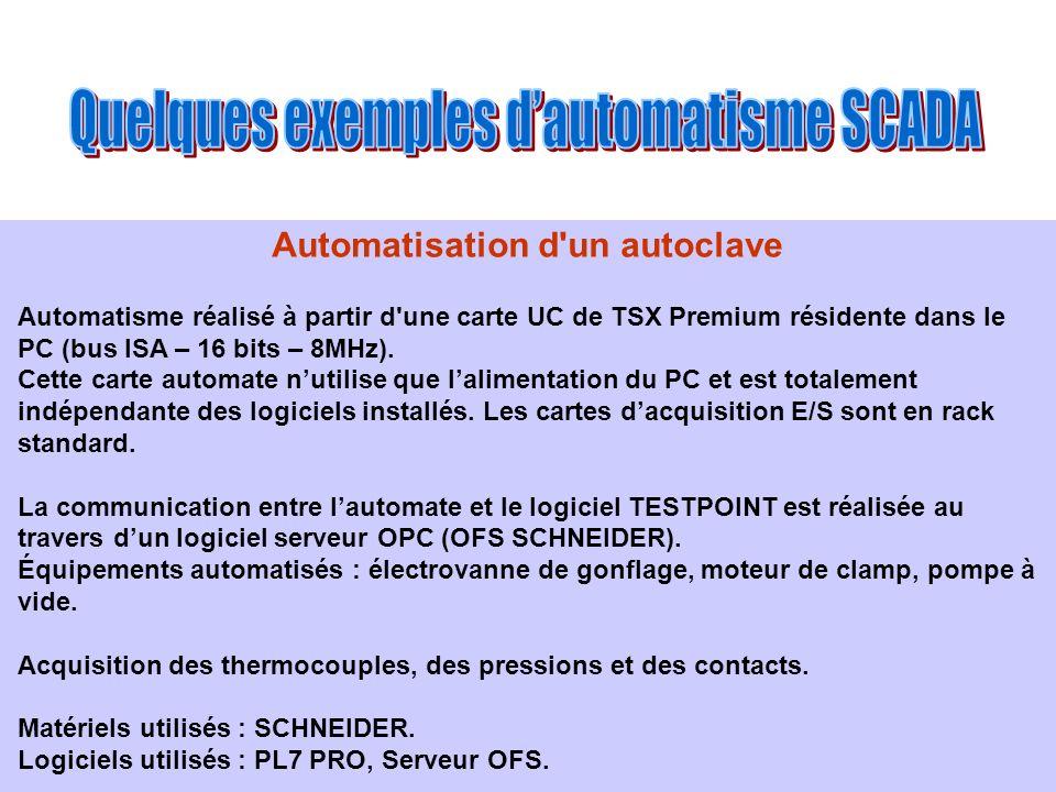 Automatisation d'un autoclave Automatisme réalisé à partir d'une carte UC de TSX Premium résidente dans le PC (bus ISA – 16 bits – 8MHz). Cette carte