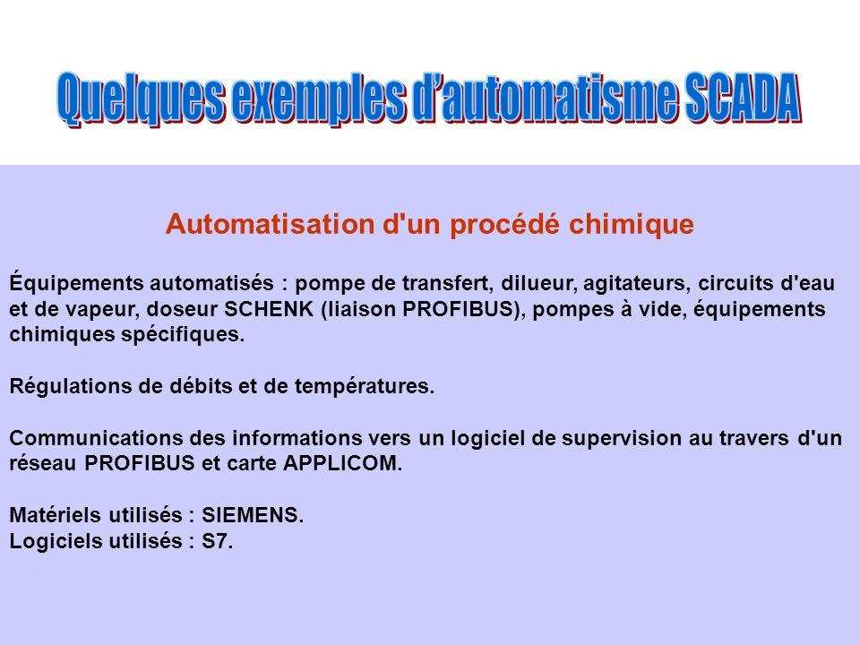 Automatisation d'un procédé chimique Équipements automatisés : pompe de transfert, dilueur, agitateurs, circuits d'eau et de vapeur, doseur SCHENK (li