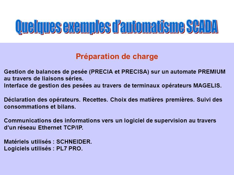 Préparation de charge Gestion de balances de pesée (PRECIA et PRECISA) sur un automate PREMIUM au travers de liaisons séries. Interface de gestion des