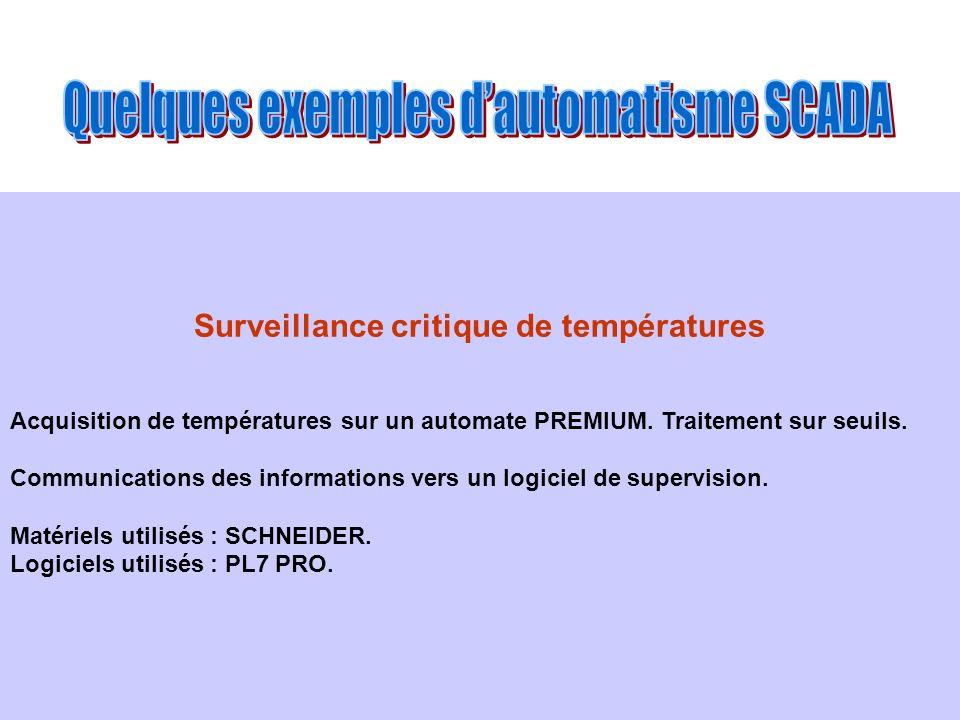 Surveillance critique de températures Acquisition de températures sur un automate PREMIUM. Traitement sur seuils. Communications des informations vers