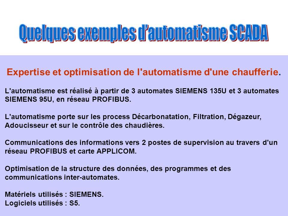 Expertise et optimisation de l'automatisme d'une chaufferie. L'automatisme est réalisé à partir de 3 automates SIEMENS 135U et 3 automates SIEMENS 95U
