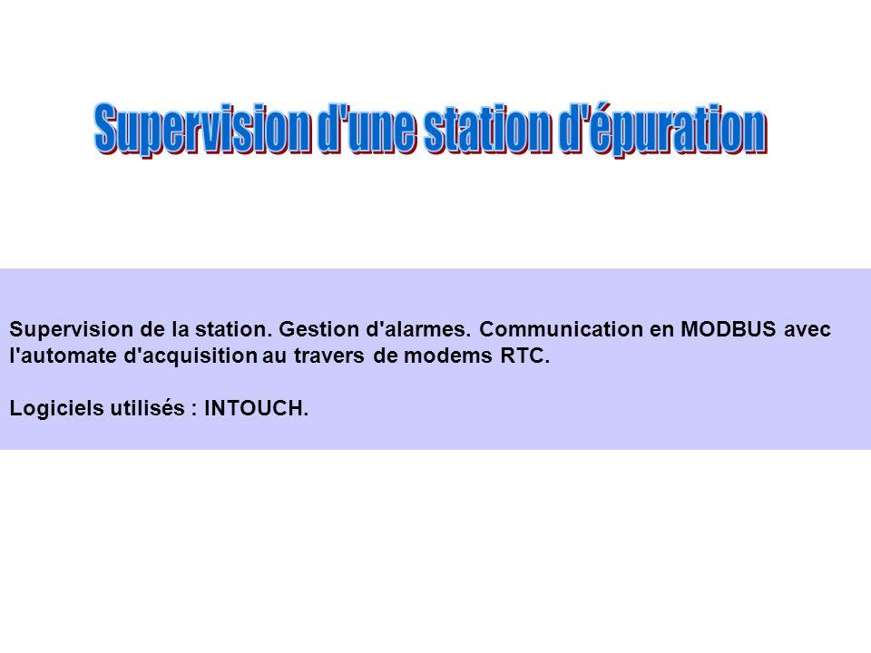 Supervision de la station. Gestion d'alarmes. Communication en MODBUS avec l'automate d'acquisition au travers de modems RTC. Logiciels utilisés : INT
