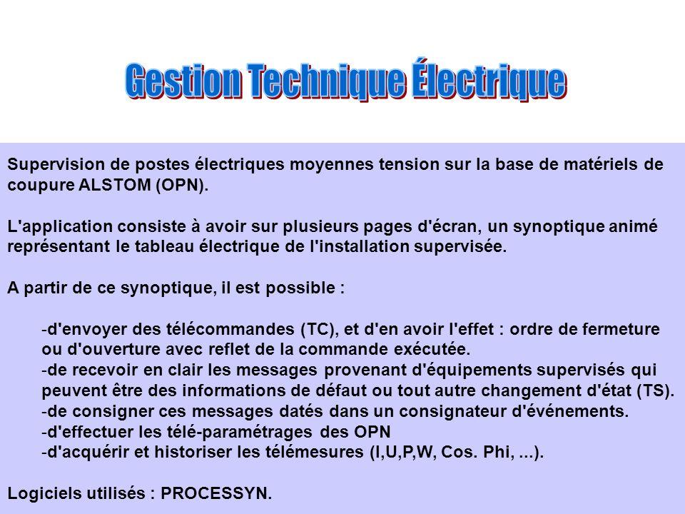 Supervision de postes électriques moyennes tension sur la base de matériels de coupure ALSTOM (OPN). L'application consiste à avoir sur plusieurs page