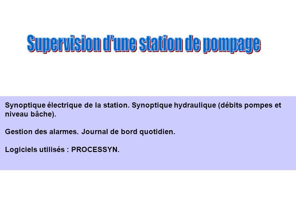 Synoptique électrique de la station. Synoptique hydraulique (débits pompes et niveau bâche). Gestion des alarmes. Journal de bord quotidien. Logiciels