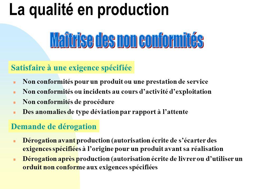 La qualité en production Satisfaire à une exigence spécifiée n Non conformités pour un produit ou une prestation de service n Non conformités ou incid