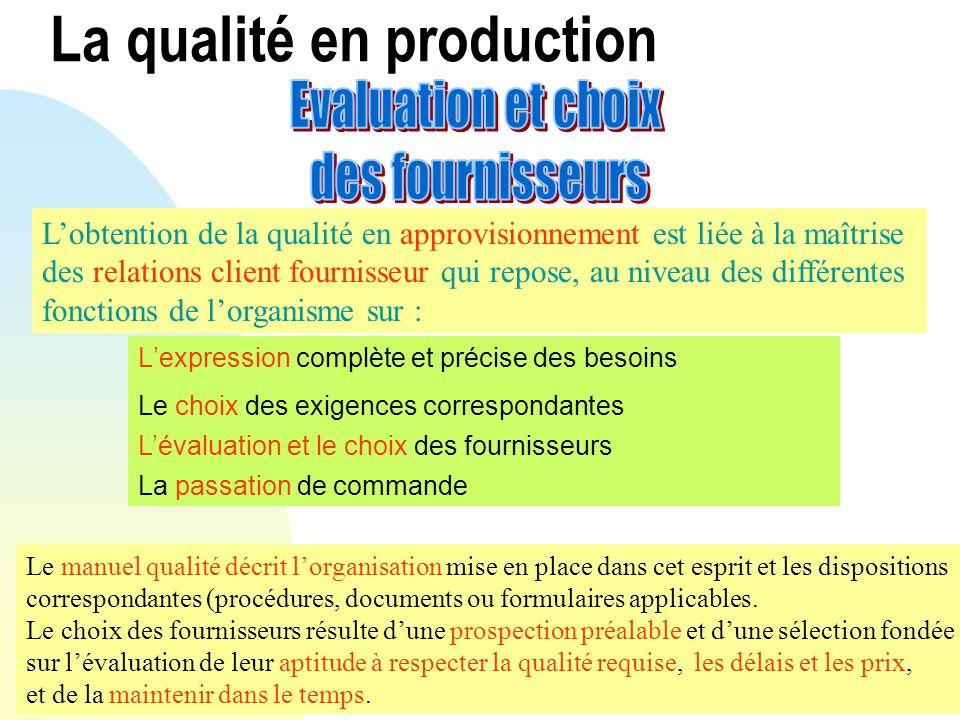 Lexpression complète et précise des besoins Lobtention de la qualité en approvisionnement est liée à la maîtrise des relations client fournisseur qui