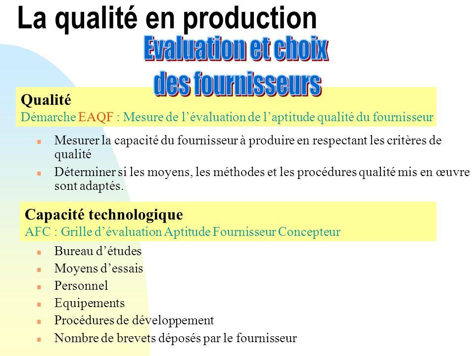 n Mesurer la capacité du fournisseur à produire en respectant les critères de qualité n Déterminer si les moyens, les méthodes et les procédures quali