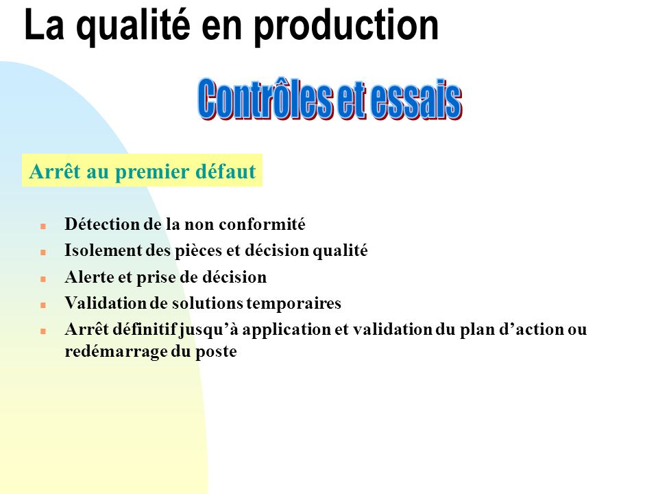 La qualité en production Arrêt au premier défaut n Détection de la non conformité n Isolement des pièces et décision qualité n Alerte et prise de déci
