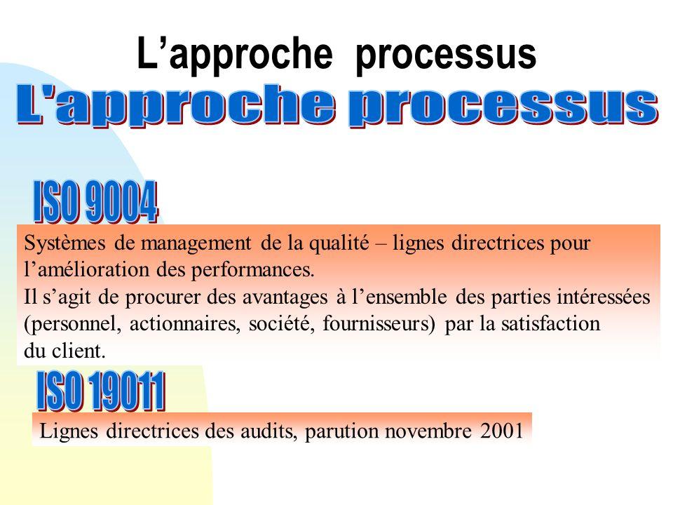 Lapproche processus Systèmes de management de la qualité – lignes directrices pour lamélioration des performances. Il sagit de procurer des avantages