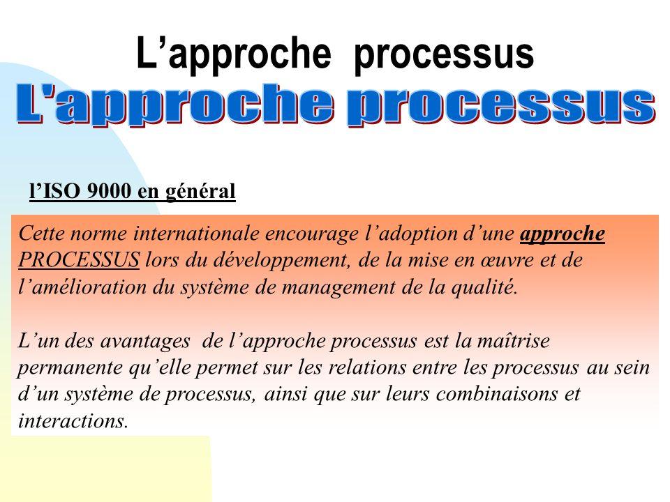 Lapproche processus lISO 9000 en général Cette norme internationale encourage ladoption dune approche PROCESSUS lors du développement, de la mise en œ