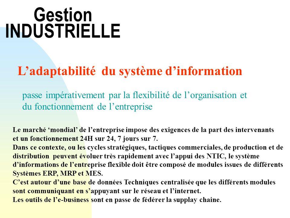 Gestion INDUSTRIELLE Ladaptabilité du système dinformation passe impérativement par la flexibilité de lorganisation et du fonctionnement de lentrepris