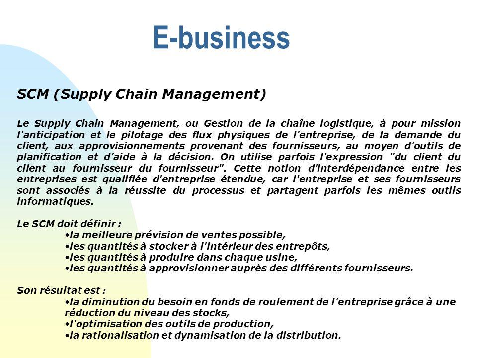 E-business SCM (Supply Chain Management) Le Supply Chain Management, ou Gestion de la chaîne logistique, à pour mission l'anticipation et le pilotage