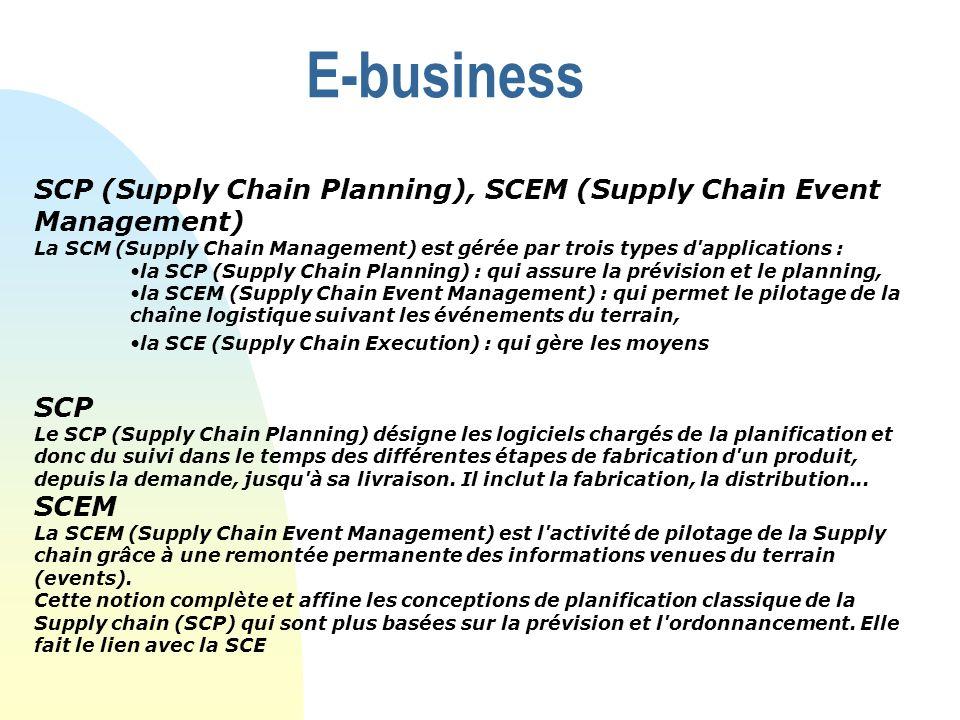 E-business SCP (Supply Chain Planning), SCEM (Supply Chain Event Management) La SCM (Supply Chain Management) est gérée par trois types d'applications